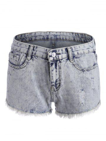 Shorts en denim à ourlet courbé