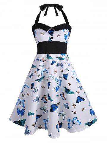Store Halter Butterfly Print Vintage Pin Up Dress BLUE L