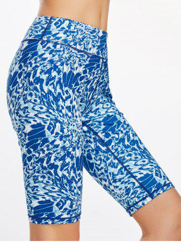 Affordable Printed Funny  Bermuda Fitness Leggings BLUE XL