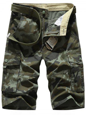 Shop Zipper Fly Chino Cargo Shorts ARMY GREEN CAMOUFLAGE 33