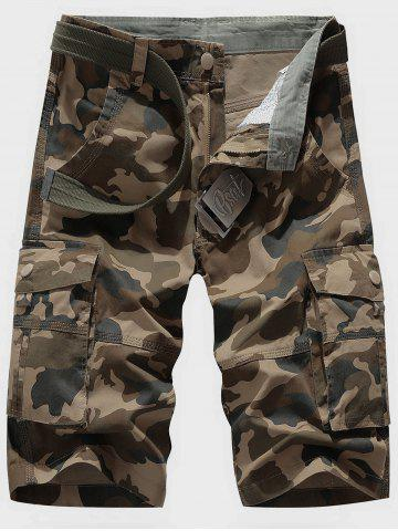 Affordable Zipper Fly Chino Cargo Shorts DEADWOOD CAMOUFLAGE 33