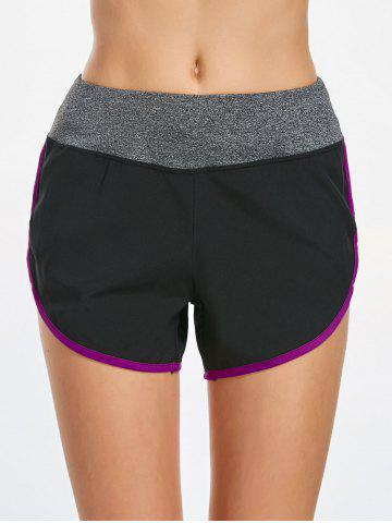 Fancy Contrast Drawstring Sports Shorts - S PURPLE Mobile