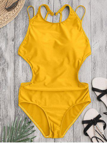 Online Back Strappy Padded Swimwear - L YELLOW Mobile