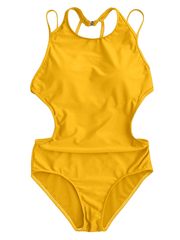 Affordable Back Strappy Padded Swimwear - L YELLOW Mobile