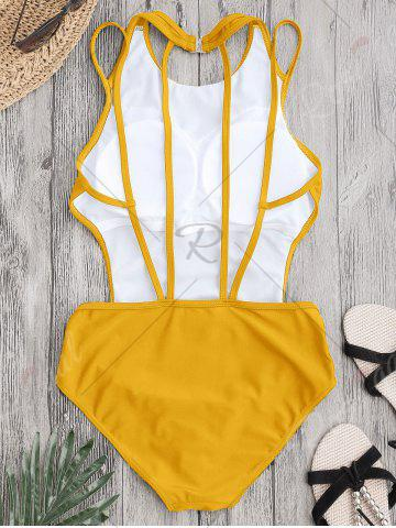 Discount Back Strappy Padded Swimwear - L YELLOW Mobile