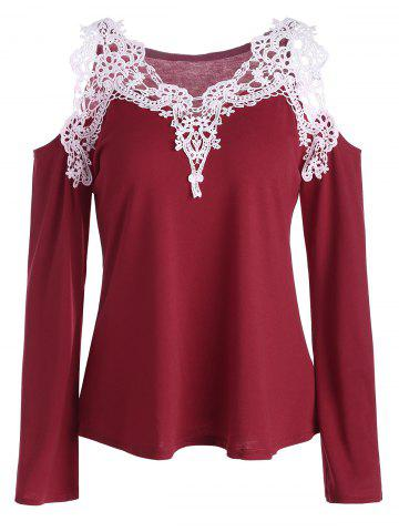 Cold Shoulder Lace Panel Color Block T-Shirt with Long Sleeve - Red - Xl