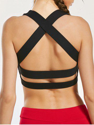 New Padde Back Criss Cross Yoga Bra with Mesh Panel BLACK L