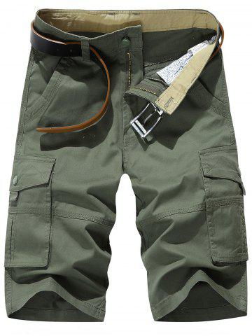 Affordable Zipper Fly Chino Cargo Shorts - 33 ARMY GREEN Mobile