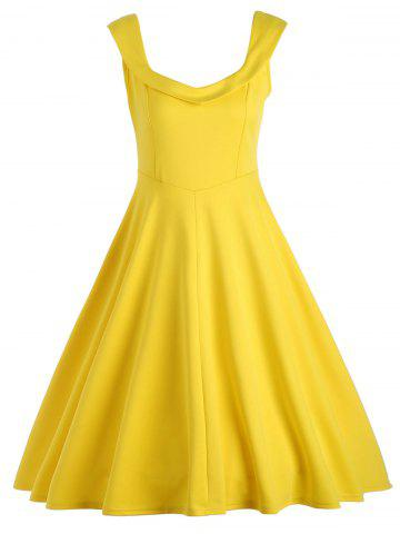 Vintage Fit et Flare Work A Line Dress Jaune M
