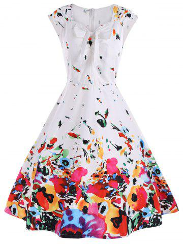 Cap Sleeve A Line Printed Cocktail Dress - White - 2xl