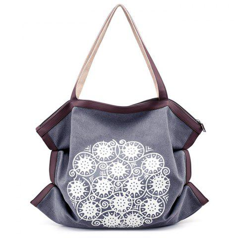 Shop Print Canvas Ruched Shoulder Bag GRAY