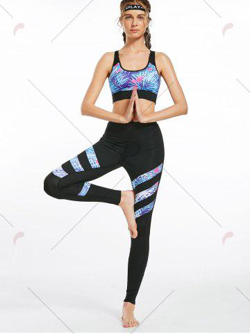New Floral Padded  Workout Racerback Bra and Leggings - S BLACK Mobile
