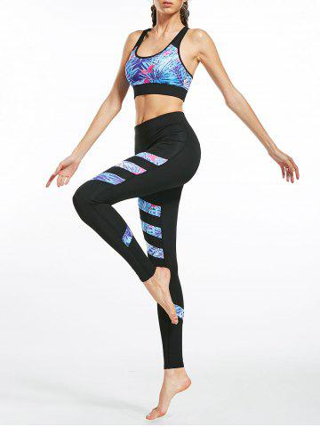 Affordable Floral Padded  Workout Racerback Bra and Leggings BLACK S
