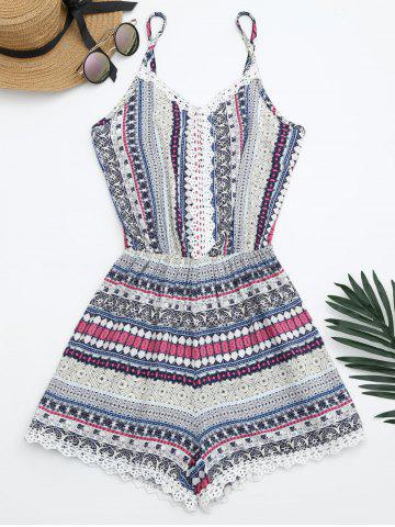 Latest Laced Printed Slip Romper BLUE ONE SIZE