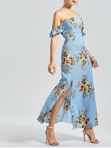 High Split Off The Shoulder Floral Maxi Dress - Windsor Blue - M