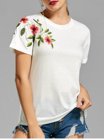 Buy Flower Embroidered T-shirt WHITE XL