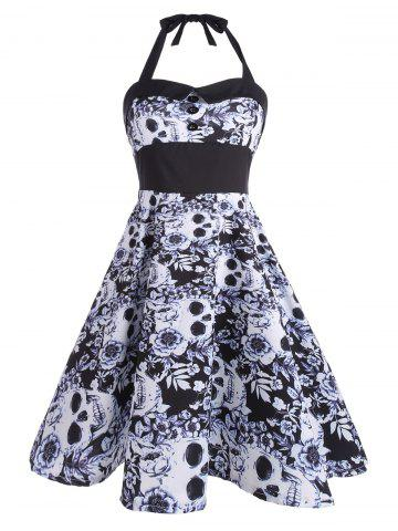 Backless Floral Skull Print Vintage Dress - Black - 2xl