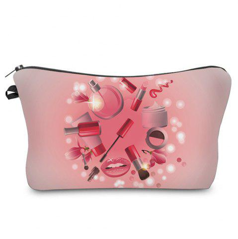 Best Cosmetics 3D Print Makeup Clutch Bag - PINK  Mobile