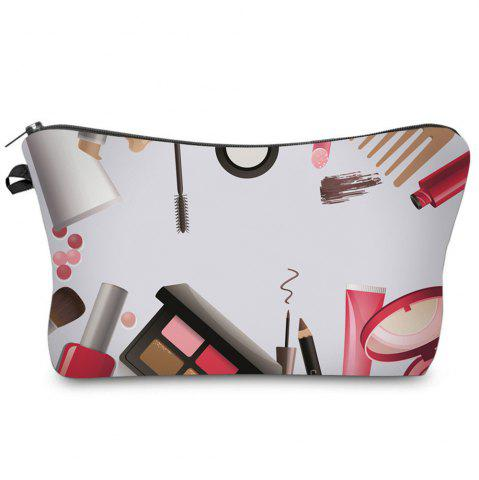 Outfits Cosmetics 3D Print Makeup Clutch Bag - WHITE  Mobile