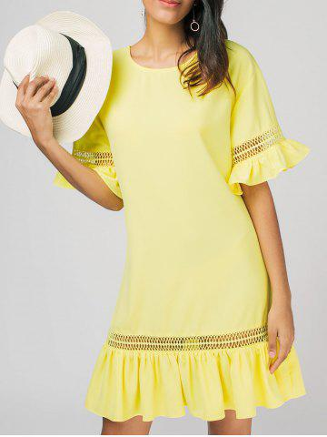 Chic Sheer Ruffles East Casual Dress