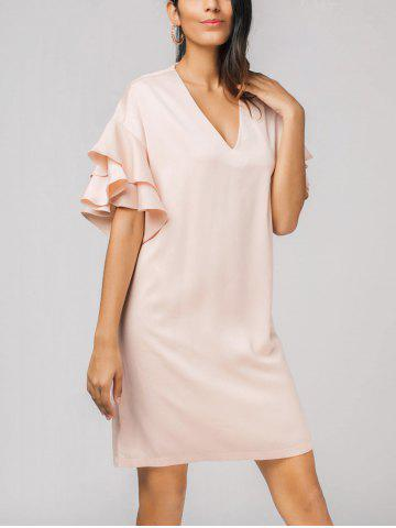Fashion Flounces Layered V Neck Dress