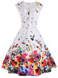 Cap Sleeve A Line Printed Cocktail Dress