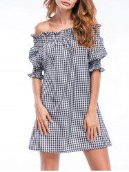 Off The Shoulder Ruffles Checked Straight Dress -