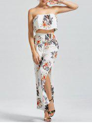 Floral Ruffle Strapless Top with Palazzo Pants