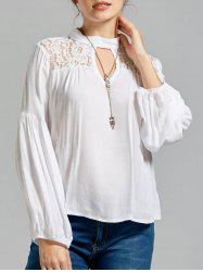 Mock Neck Lace Trim Blouse