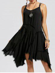 Fringe Short Asymmetric Slip Dress