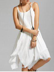 Fringe Short Asymmetric Long Slip Dress