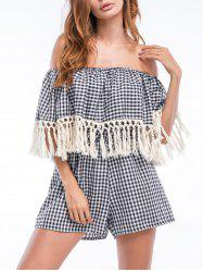 Tassels Off The Shoulder Checked Flounce Romper