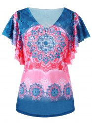 V Neck Bandana Floral Butterfly Sleeve Top