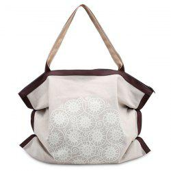 Print Canvas Ruched Shoulder Bag