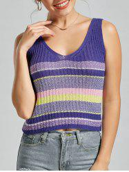 V Neck Striped Knit Sweater Vest