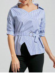 Casual V Neck Striped Shirt