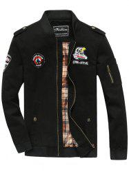 Patch Embellished Zip Fly Bomber Jacket