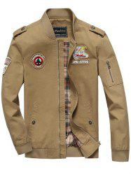 Patch Embellished Zip Fly Bomber Jacket - KHAKI
