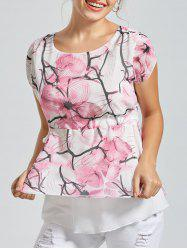 Drawstring Chiffon Printed Layer Top