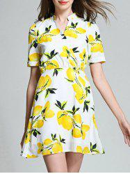 Lemon Print High Waist Blouse Dress