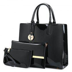 3 Picecs Patent Leather Handbag Bag - BLACK