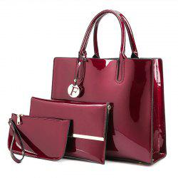 3 Picecs Patent Leather Handbag Bag - WINE RED