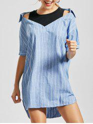 Striped Cold Shoulder Mini Shift Dress