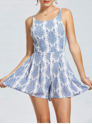 Cut Out Back Sleeveless Print Romper