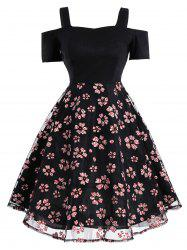 Mesh Panel Floral Vintage Fit and Flare Dress - BLACK