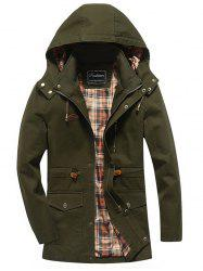 Snap Button Pocket Design Hooded Coat - ARMY GREEN