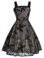 Marguerite Floral Vintage Fit et Flare Dress - Noir
