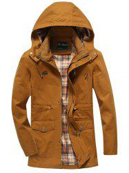 Snap Button Pocket Design Hooded Coat - KHAKI