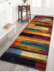 Colorful Stripes Wood Grain Flannel Rug - COLORFUL