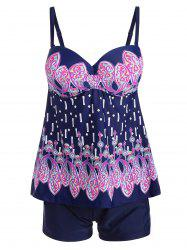 Open Back Paisley Padded Underwire Tankini -